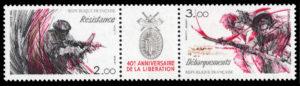 1984年フランス発行【解放40年】レジスタンスとノルマンディー上陸 ナチスドイツ占領下のフランスでは、女性を含め多くのフランス人が地下組織をつくり、「まだか?!」と、連合軍のヨーロッパ本土への上陸を待ちながら抵抗を続けた。1944年6月、ついに連合軍はノルマンディー上陸作戦を成功させるが、それまでに数多くのレジスタンスが命を落とした。