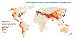 [地図 : 地震発生区域に立地する世界の原発]