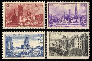 第二次世界大戦で廃墟になったフランスの都市/ダンケルク/ルーアン/カーン/サンマロ フランスの寄付金付き切手 1945年発行