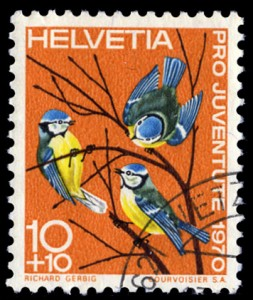 アオシジュウカラ 1970年 スイス発行