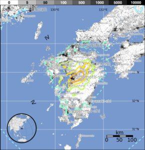 熊本地震USGS地図