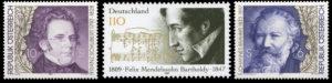 左からシューベルト(オーストリア)、メンデルスゾーン(ドイツ)、ブラームスの切手。