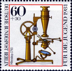 1790年頃の顕微鏡 1981年西ベルリン発行