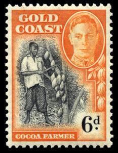 『カカオの収穫』1948年イギリス領ゴールドコースト発行